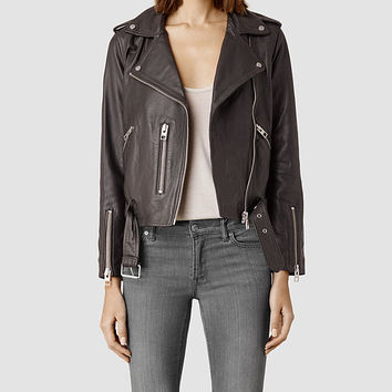 Womens Balfern Leather Biker Jacket (Anthracite) | ALLSAINTS.com