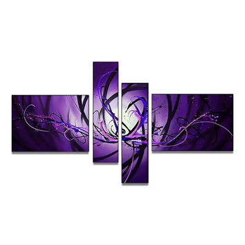 Purple Glow Canvas Wall Art Abstract Oil Painting