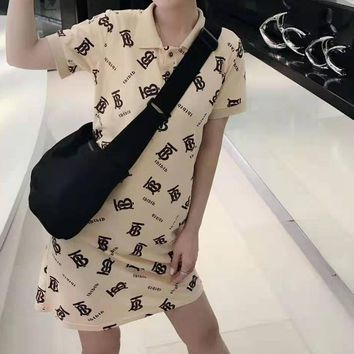"""""""TB"""" Woman's Leisure  Fashion Letter Personality Printing lapel  Short Sleeve Tops Skirt"""