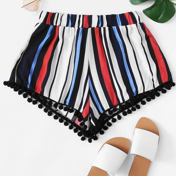 Pom-pom Trim Striped Shorts