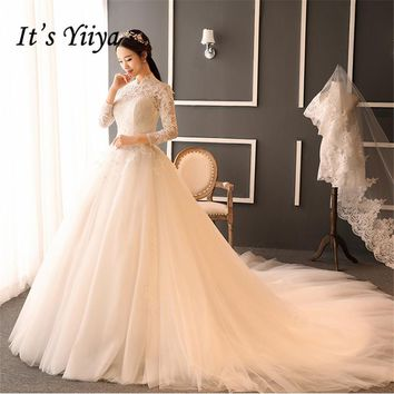 New High Collar Lace Half Sleeves Trailing Wedding Dresses White Quality Bride Gowns Vestidos De Novia IY003