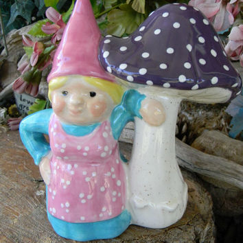 Garden Gnome with Mushroom Purple Mushroom Turquoise and Pink Outside safe Woman Gnome Lady Girl