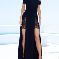 Black Off Shoulder Thigh High Slit Evening Dress
