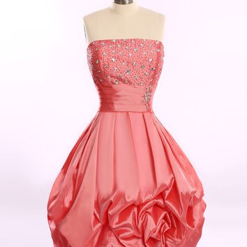 Vestido Coctel Corto Elegant Real Strapless Beaded Crystals Pleated Taffeta Cocktail Dresses 2016 Vestidos De Cocktail