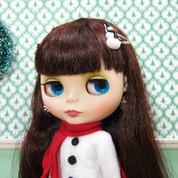 Snowman Barrettes Hair Clips for Blythe & Pullip Dolls