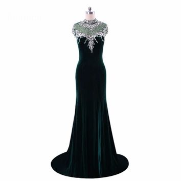 High Neck Gowns Crystal Beaded Cap Sleeve Mermaid Velvet Evening Dresses