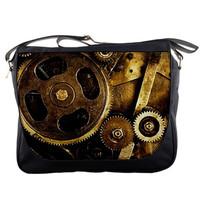 "Steampunk Gears and Brass Metal Photo 14"" Messenger Laptop Notebook Tablet Computer School Sling Shoulder Bag Handbag Tote Custom Made"