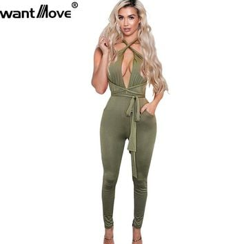 Wantmove 2017 New Summer Fashion Rompers Women Jumpsuits Sexy Playsuit Bodysuits Elegant Sleeveless Long Bandage XD259
