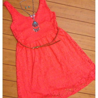 "CLOSEOUT~""StarLite"" Sleeveless Lace ""Little Coral Dress"" with Belt Spring/Summer Apparel"
