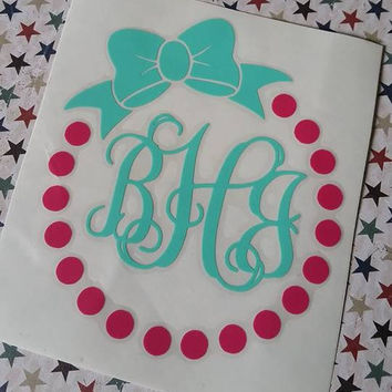 Monogram | Bow Dot Monogram | Bow Monogram | Phone Decal | Girl Decal | Woman Cup Decal | Framed Circle Decal | Bow Monogram Decal | Vinyl