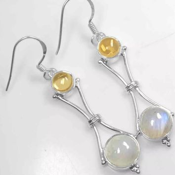 Citrine and rainbow Moonstone sterling silver earrings