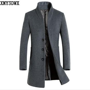 XMY3DWX New 2017 New Winter Men's Wool Trench Jacket Business Long Trench Coat Male European Style Mens Overcoat Windbreaker