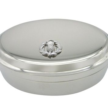 Silver Toned Scottish Thistle Pendant Oval Trinket Jewelry Box
