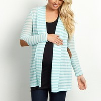 Mint-Green-Striped-Faux-Suede-Elbow-Knit-Cardigan