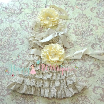 Country Flower Girl's dress/ Girl's Ivory Champage Flower Lace Dress set