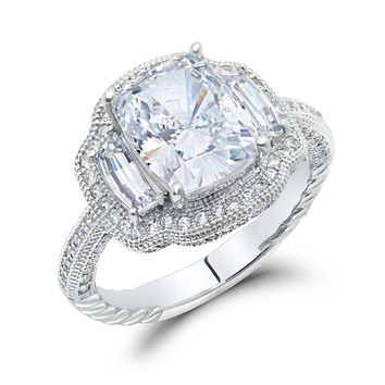 Sterling silver bonded with platinum 3 stone emerald cut wedding ring and simulated diamonds by swarovski.  ZR-0234