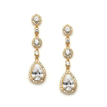 Pear-shaped Gold Wedding Earrings with Micro-Pave CZ