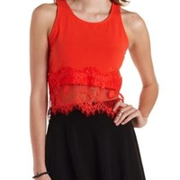 Poppy Red Lace-Trim Racerback Crop Top by Charlotte Russe