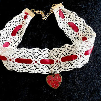 White Lace Red Choker Necklace,  Red heart Lolita Choker, Bridal lace choker, Vintage Style, Handmade Necklace Choker, White Choker