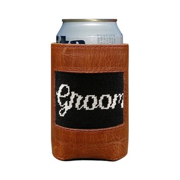 Groom Needlepoint Can Cooler by Smathers & Branson