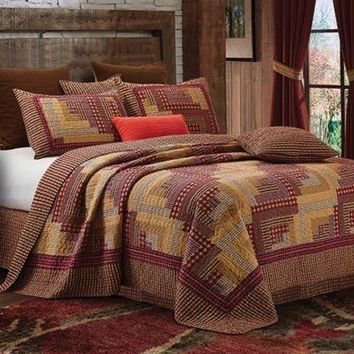 Country Lodge Plaid Checks Montana Red Log Cabin 3 pc Full/Queen or King  Quilt Set