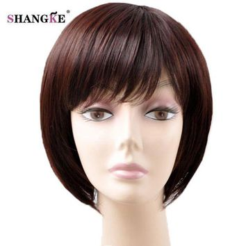 ONETOW SHANGKE Short Brown Hair Wigs For Black Women Natural Synthetic Wigs For African Americans Heat Resistant Synthetic Fake Hair