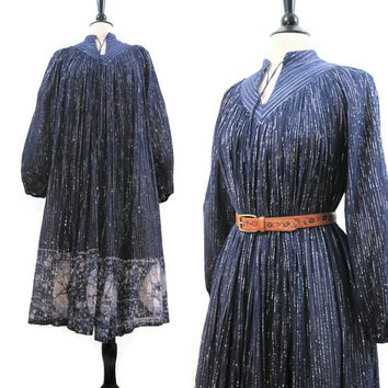 70s Hippie Dress Vintage India Blue Gauze Metallic Thread Boho Festival Tie Dye S M