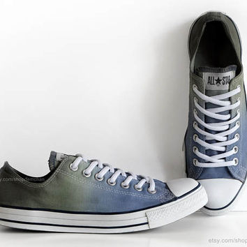 Blue, olive green ombré dip dye Converse, All Stars, upcycled sneakers, transformed vintage shoes, size 42.5 (UK 9, us mens 9, us wo's 11)