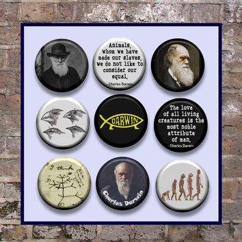 "DARWIN Charles Theory of Evolution 9 Pinback 1"" Buttons Badges Pins"