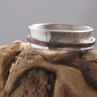 Sterling silver spinner ring anxiety worry meditation with copper band