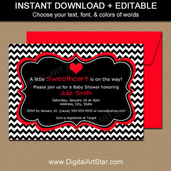Valentines Day Invitation Template - EDITABLE Valentine Baby Shower Invitation - DIY Valentine Bridal Shower Invitations Digital Download