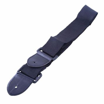 Black Adjustable Leather Ends Nylon Guitar Strap Belt for Electric Classic Acoustic Guitar Bass