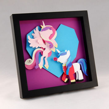 3-D MLP Princess Cadence and Shining Armor Hearts and Hooves Crystal Heart & Rose - Framed 8x8 Shadowbox Paper Art My Little Pony Shadow Box