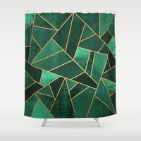Emerald and Copper Shower Curtain by Elisabeth Fredriksson