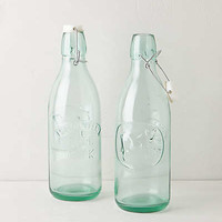 Anthropologie - Green Glass Milk Bottles