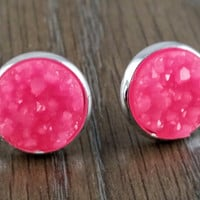Druzy earrings- chunky hot pink drusy silver tone stud druzy earrings