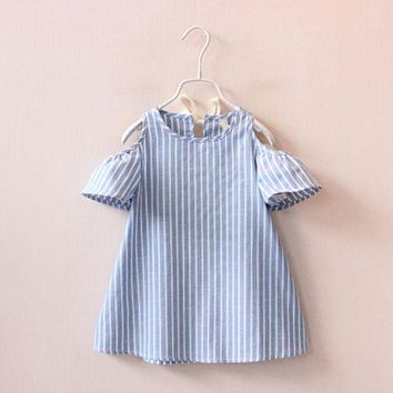 Summer Infant Kids Girls Dresses Toddler Baby Short Sleeve Stripped Princess Cute Dress Flower Tutu Dresses