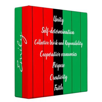 Kwanzaa Principles Striped Pattern Red Black Green 3 Ring Binder