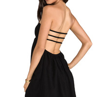 Indah Sunny Smocked Bandeau Dress in Black