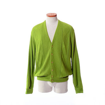 Vintage 60s Mod Lime Green Cardigan Sweater 1960s Penneys Towncraft Mid Century Rat Pack Hipster Rockabilly Mens Sweater / L