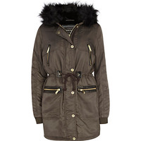 River Island Womens Grey faux fur trim parka jacket