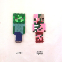 Plastic bookmark's inspired by Minecraft Zombie OR Zombie pigman