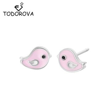 Todorova Sweet Cute Pink Enamel Bird Stud Earrings for Kids Children Girls Lovely Animal Jewelry