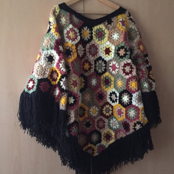 ON SALE - 10% OFF Granny Square Poncho...Patchwork style poncho
