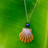 Large Sunrise Shell Necklace ,14k gold filled necklace, Hawaii Shell Necklace, orange sunrise shell, black pearl necklace