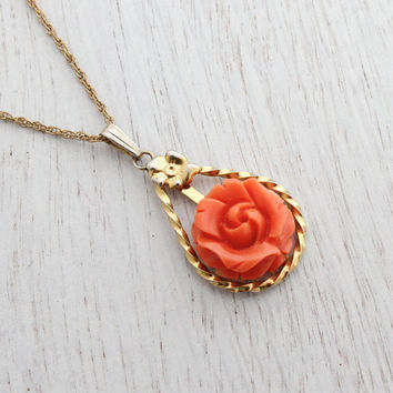 Vintage Molded Glass Coral Pink Necklace - 12K Gold Filled Sorrento Floral Jewelry / Textured Rose