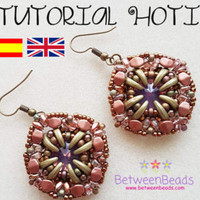 Schema Tutorial Beadwork, Earrings Pattern Beadweaving Earrings, Jewelry, Spanish and English, Crescent Beads Rivoli, Seed Beads Schema