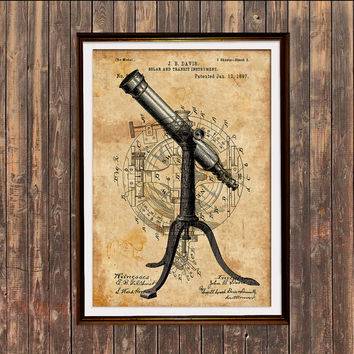 Astronomy poster Telescope print Steampunk art Patent print SOL219