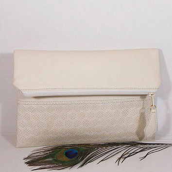 Cream foldover leather clutch, Evening clutch, wedding clutch for bride, vanilla leather purse, gift for bridesmaids, wedding gold clutch