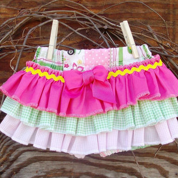 Ruffled Baby Bloomers, diaper cover,Spring, Easter, Pink, Photo Prop size 12 months, Tractor